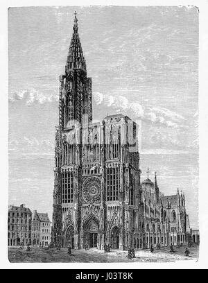 Vintage engraving of Strasbourg Cathedral in France, built in  Romanesque and Gothic architecture decorated with - Stock Photo