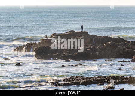 Atlantic Ocean seen from shore of Nevogilde civil Parish of Porto city, second largest city in Portugal - Stock Photo