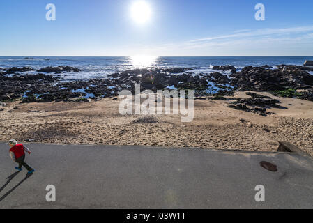 Molhe beach in Nevogilde civil Parish of Porto city, second largest city in Portugal - Stock Photo
