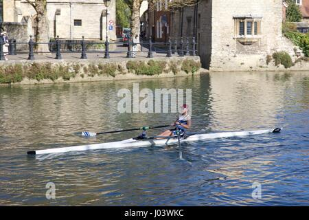 Rowing on the River Thames at Abingdon - Stock Photo