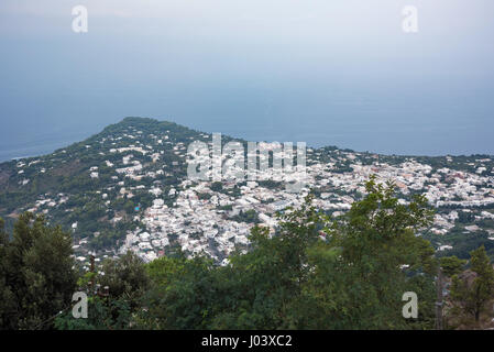 Aerial view of buildings in Anacapri from Monte Solaro, Capri Island, Italy - Stock Photo