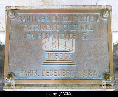 Unesco World Heritage Plate of Santiago de Compostela, Galicia, Spain, August-07-2013 - Stock Photo