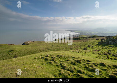 View from Little Ormes head looking towards Rhos point Penrhyn Bay in North Wales UK - Stock Photo
