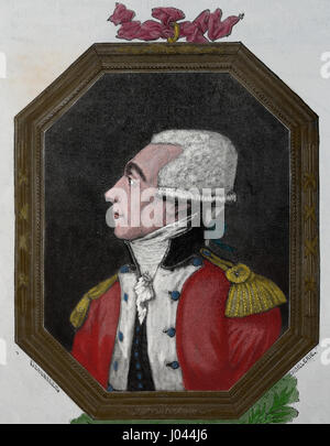 Marquis de Lafayette (1757-1834). French aristocral and military. Engraving Nuestro Siglo,1883.  Spanish edition. - Stock Photo