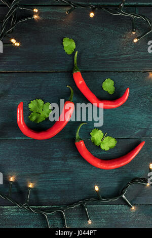 Red Chili Pepper Christmas Tree Studio Shot Stock Photo