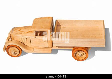 Wooden model of retro freight car on a white background - Stock Photo