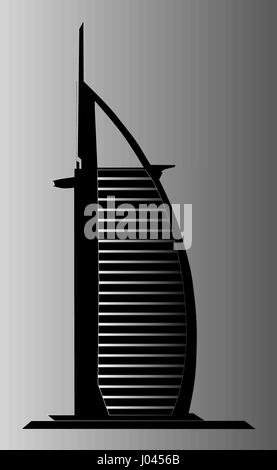 Dubai Burj Al Arab illustration - Stock Photo
