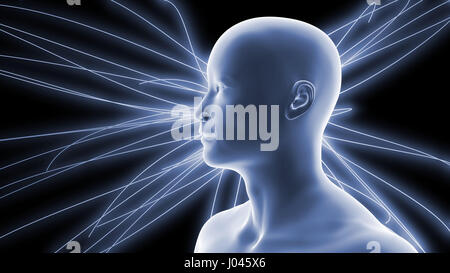 handsome young smiling man in front of glowing technical lines (conceptual 3d illustration in shades of blue) - Stock Photo