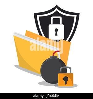 cyber secuirty protection padlock folder - Stock Photo