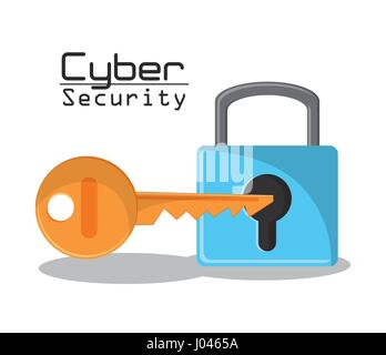cyber secuirty padlock key protection data access - Stock Photo
