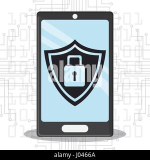 cyber security smartphone mobile shield protection - Stock Photo