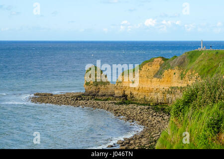 Pointe du Hoc, coast in Normandy site of allied invasion during D-day of World War II, monument to Rangers. - Stock Photo