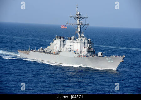The USN Arleigh Burke-class guided-missile destroyer USS Stout steams underway January 17, 2014 in the Mediterranean - Stock Photo