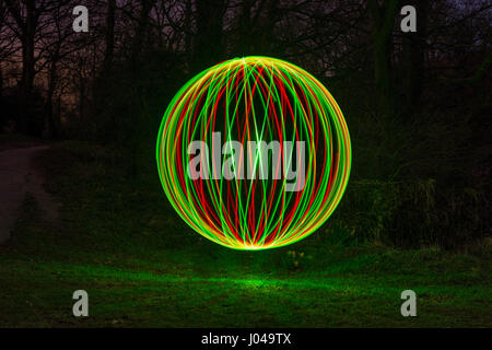 A sphere created using light painting. A special photographic technique - Stock Photo