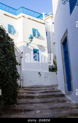 All white with blue trim, the Moorish (or possibly Greek) inspired hilltop town of Sidi Bou Said is an artist colony - Stock Photo