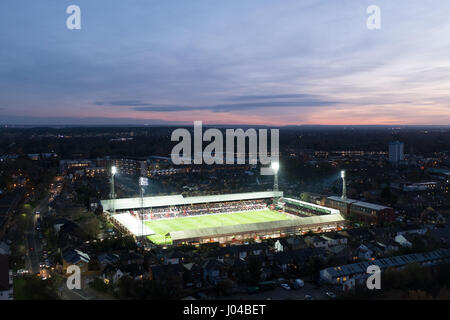 Griffin Park floodlit evening match aerial shot - Stock Photo
