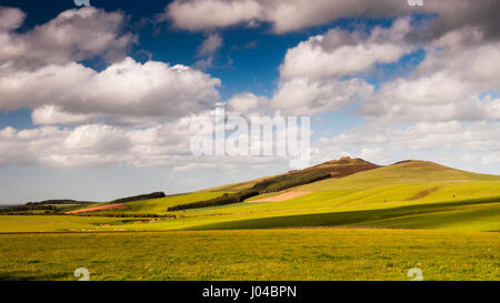 Sun shines on the green grass-covered rolling hills of Ruber's Law in Scotland's Southern Uplands. - Stock Photo