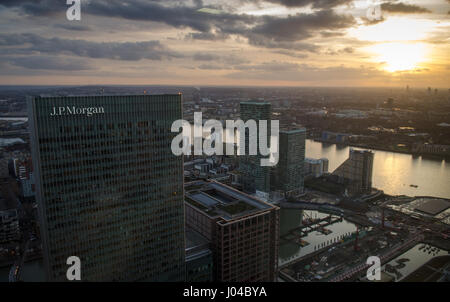 London, England - 27 February 2015: The headquarters of JPMorgan Europe, a branch of JP Morgan Chase Co., at 25 - Stock Photo