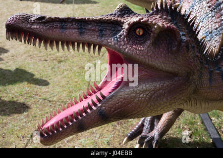 Model dinosaurs at Jurassic Kingdom at Osterley Park, London. - Stock Photo