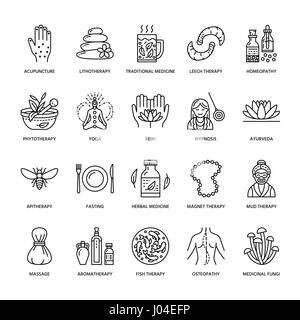 Alternative medicine line icons. Naturopathy, traditional treatment, homeopathy, osteopathy, herbal fish and leech - Stock Photo