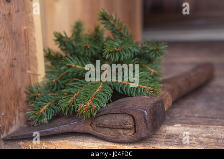 Axe on cut down spruce branches. - Stock Photo