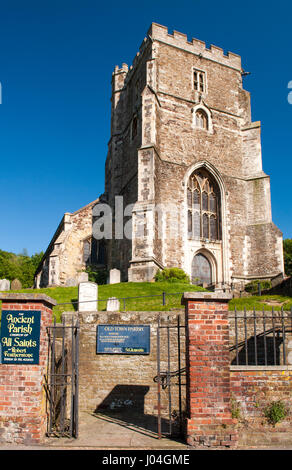 Hastings, England - June 8, 2013: The 15th century All Saints, a traditional English parish church in the old town - Stock Photo