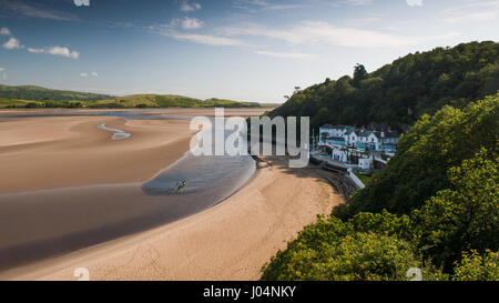 Portmeirion village nestled in woodland on the estuary of the River Dwyryd in North Wales. - Stock Photo