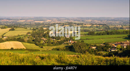 Agricultural fields and pasture of the Blackmore Vale seen from Fontmell Down in North Dorset, England. - Stock Photo