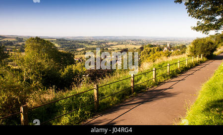 The view over the agricultural valley of the Blackmore Vale from the hilltop Park Walk in Shaftesbury, Dorset. - Stock Photo