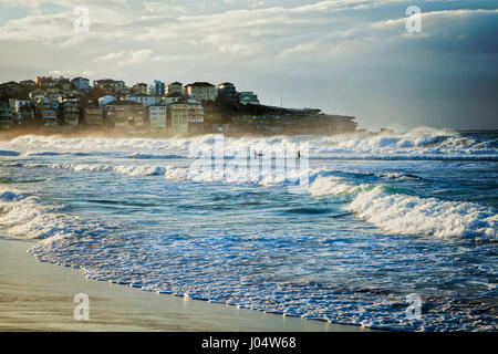 Bondi Beach, Sydney, Australia, on a fine winterr morning with good surf, two surfers just walking out into the - Stock Photo