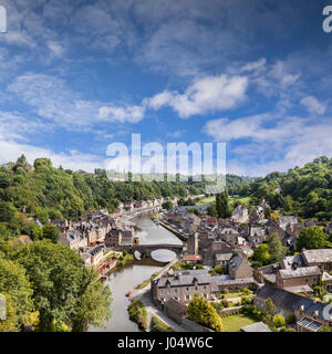 The old port of Dinan and the River Rance, Brittany, France. - Stock Photo