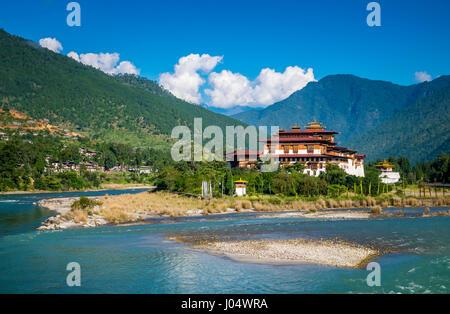 PUNAKHA, BHUTAN - CIRCA October 2014: View of the Punakha Dzong, a landmark in Punakha, Bhutan - Stock Photo