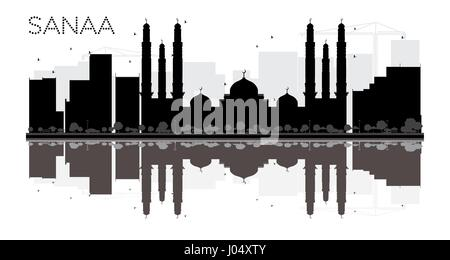 Sanaa City skyline black and white silhouette with reflections. Vector illustration. Simple flat concept for tourism - Stock Photo