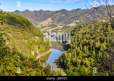 View of the river in the Whanganui National Park, North Island of New Zealand - Stock Photo
