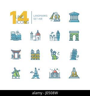 Landmarks - colored modern single line icons set - Stock Photo