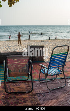 Local people on the beach of the village Keb, Cambodia, Asia. - Stock Photo