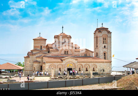 OHRID, REP. OF MACEDONIA - AUGUST 6, 2016: The the wedding guests in front of Saint Panteleimon church by the Ohrid - Stock Photo