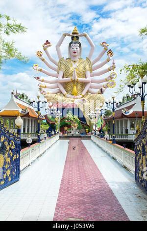 KOH SAMUI, THAILAND - OCTOBER 21, 2016: Wat Plai Laem, Buddhist temple on the resort Samui island daytime view - Stock Photo