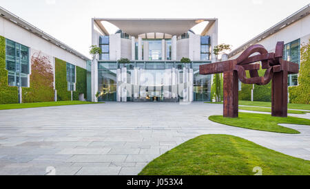 Panoramic view of Bundeskanzleramt (German Federal Chancellery), main seat and office of Chancellor Angela Merkel - Stock Photo