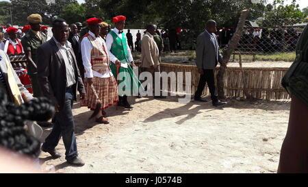 Barotseland, Zambia. 8th Apr, 2017. Lubosi Imwiko II. (2-L), King of the Lozi people walks with the Zambian president - Stock Photo