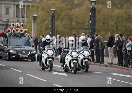 Lambeth Bridge, London, UK. 10th April 2017. The full force funeral of PC Keith Palmer, killed in the Westminster - Stock Photo