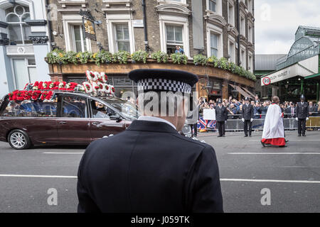 London, UK. 10th Apr, 2017. Funeral day of PC Keith Palmer who was killed in Westminster on 22nd March. Credit: - Stock Photo