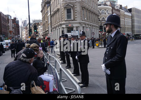 London, England, UK. 10th Apr, 2017. Stand for Keith cortege procession for funeral of PC Keith Palmer at Southwark - Stock Photo