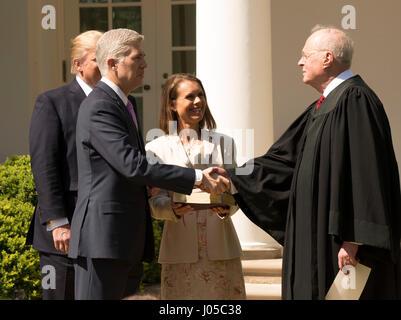 Washington, USA. 10th Apr, 2017. President Donald J Trump introduces the new Associate Supreme Court Justice, Neil - Stock Photo