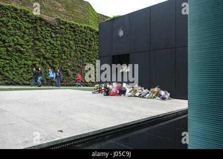 London, UK. 10th Apr, 2017. Floral Tributes left at the National Police Memorial for officers killed in the line - Stock Photo