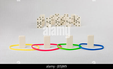 Domino represent human with different psyhological traits based on DISK model. Dominance, inducement, submission, - Stock Photo