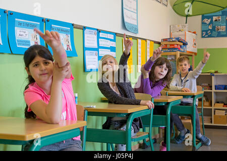 pupils at primary school raising their hands, Lower Saxony, Germany - Stock Photo
