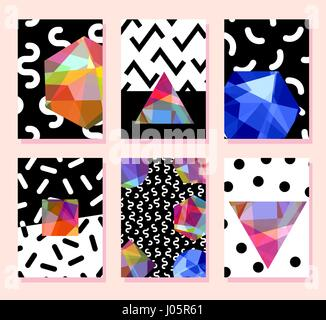 Trendy card memphis style design. Abstract geometric elements. Layout template poster, card, invitation, brochure, - Stock Photo