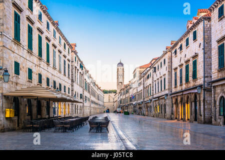 Morning view at famous Stradun street in Dubrovnik, Croatia. - Stock Photo