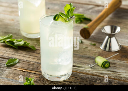 Refreshing Cucumber Gin Spritz Cocktail with Lime and Mint - Stock Photo